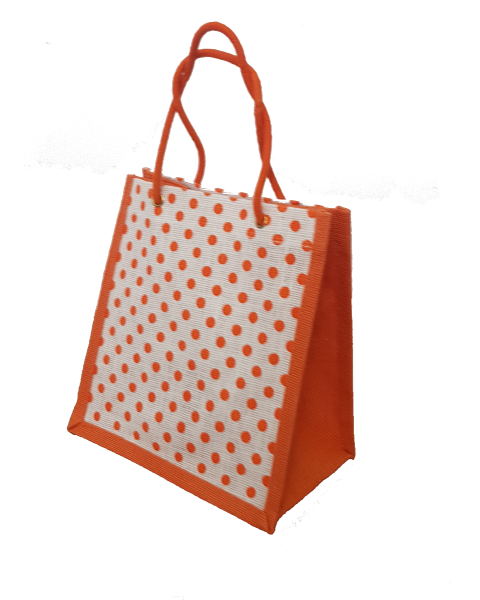 Polka Dot Printed Jute Lunch Bag