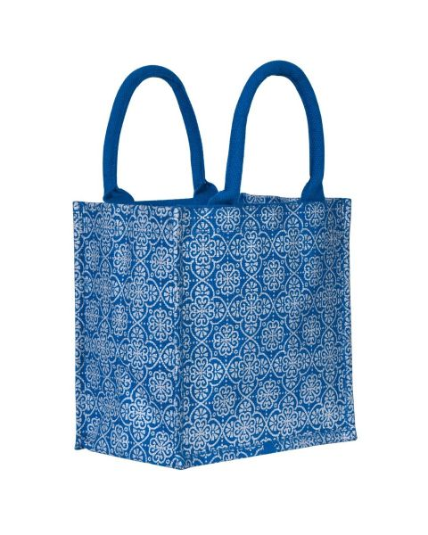 Mughal Motif Print Zipper Jute Lunch Bag