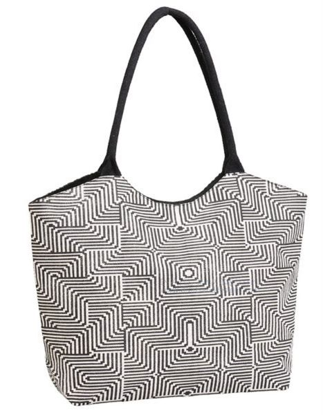 Black and White Jute Bag