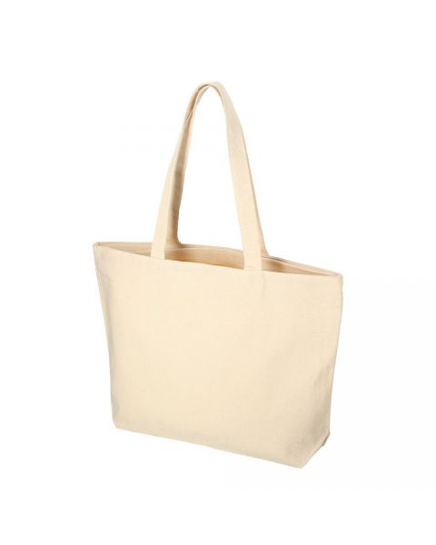 Natural Canvas Zipper Carrier Tote Bag