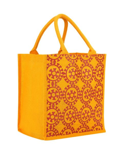 Round Print All Over Printed Jute Shopping Bag