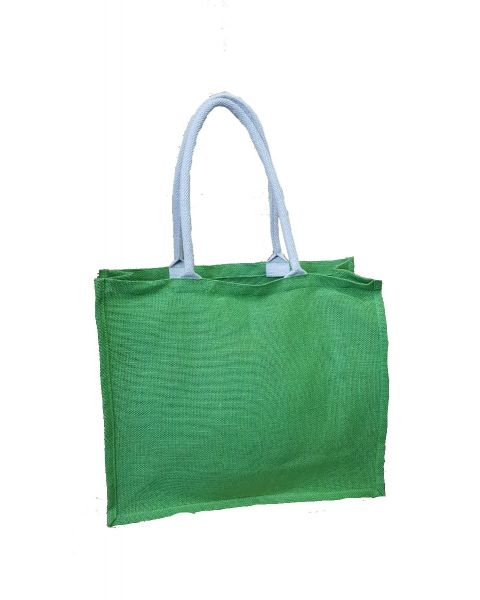 Green jute shopping bag