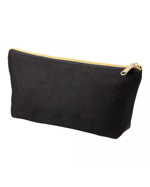 black pouch with gold zip