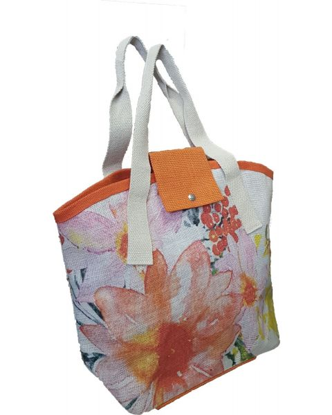 Orange Flower Jute Bag
