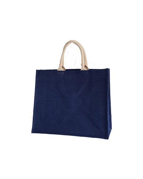blue laminated jute shopping bag