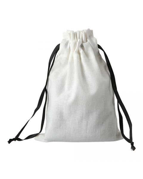 White Pouch Black Ribbon