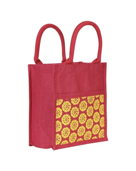 Jute Bag with External Pocket