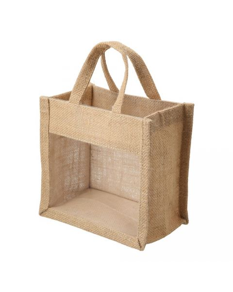Jute gift bag with transparent window