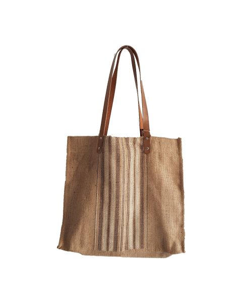 Tarpaulin Jute Bag with Faux Leather Handle