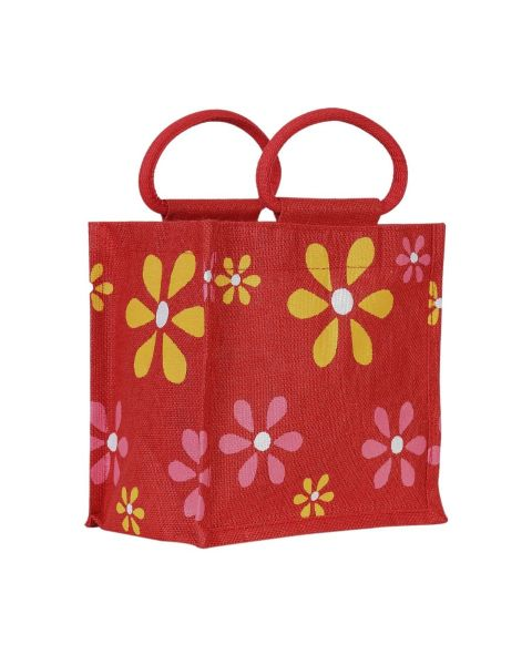Red  Flower Printed Jute Lunch Bag