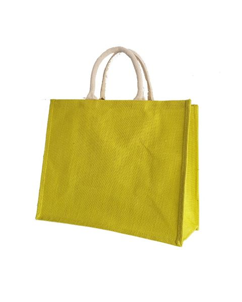 Yellow laminated jute shopping bag