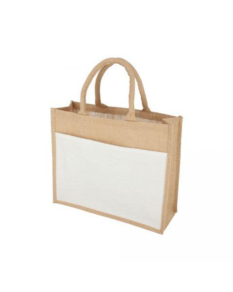 Jute Bag White Pocket